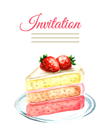 Invitation birthday or wedding card. Strawberry cake. Watercolor hand drawn illustration  isolated on white background Stock Photo