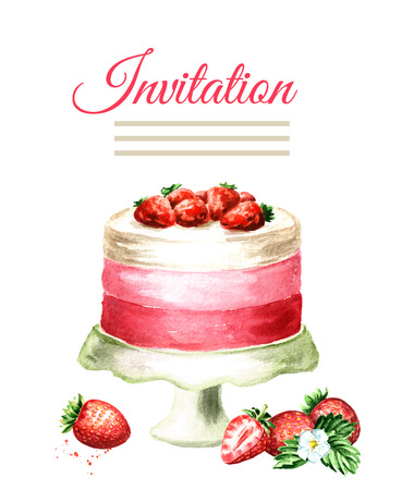 Invitation birthday or wedding card. Strawberry cake. Watercolor hand drawn illustration, isolated on white background Stock Photo