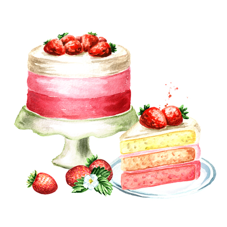 Strawberry cake birthday or wedding composition. Watercolor hand drawn illustration, isolated on white background Standard-Bild