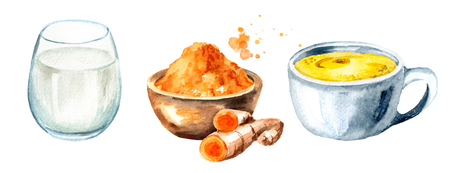 Golden Milk ingredients. Watercolor hand drawn illustration, isolated on white background