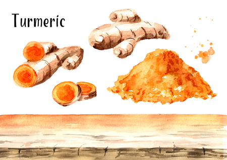 Turmeric root background elements. Watercolor hand drawn illustration, isolated on white background