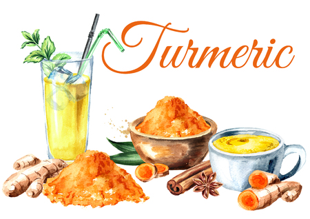 Turmeric card. Ayurvedic drink golden coconut milk iced latte with mint and spicies. Watercolor hand drawn illustration, isolated on white background