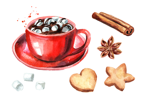 Red Cup of hot chocolate with marshmallow, cinnamon stick and star anise and Christmas cookies set. Watercolor hand drawn illustration isolated on white background Stok Fotoğraf - 106974822