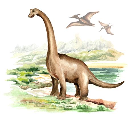 Brachiosaurus dinosaur in prehistorical landscape. Watercolor hand drawn illustration, isolated on white background