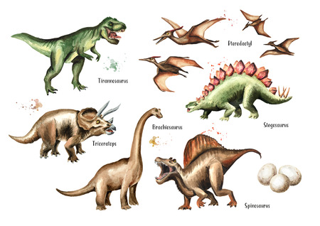 Dinosaur set. Watercolor hand drawn illustration, isolated on white background