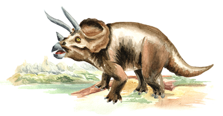 Triceratops dinosaur in prehistorical landscape. Watercolor hand drawn illustration, isolated on white background