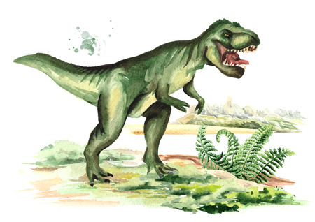 Tyrannosaurus dinosaur in prehistorical landscape. Watercolor hand drawn illustration, isolated on white background 스톡 콘텐츠