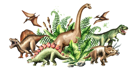 Group of dinosaurs with prehistoric plants. Watercolor hand drawn illustration isolated on white background