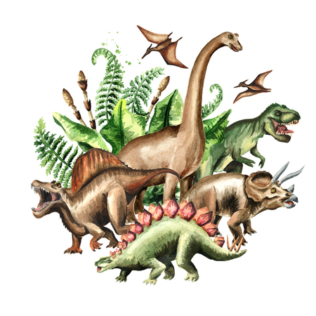 Group of dinosaurs with prehistoric plants. Watercolor hand drawn illustration, isolated on white background