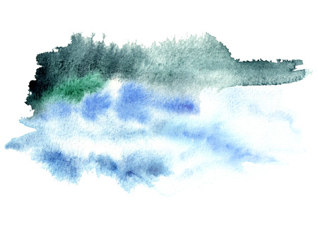 Blue and grey watercolor background for your design. Hand drawn texture Stock Photo