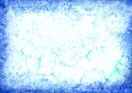 Blue watercolor frame background for your design. Hand drawn texture