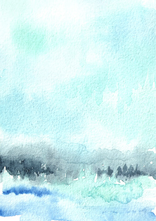 Blue winter watercolor background for your design. Hand drawn texture Stock Photo