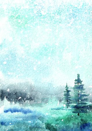 Winterhintergrund, Landschaft mit Schnee. Gezeichnete vertikale Illustration der Aquarellhand
