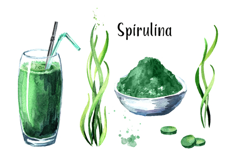 Seaweed Spirulina with powder, smoothie and tablets set. Superfood. Watercolor hand drawn illustration, isolated on white background 스톡 콘텐츠