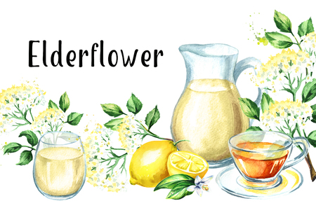 Jug with Homemade elderflower syrup, summer drink, with elder flower, lemon and tea. Watercolor hand drawn illustration, isolated on white background Stock Photo