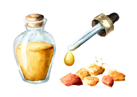 Frankincense essential oil set. Watercolor hand drawn illustration, isolated on white background