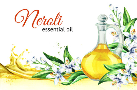 Neroli oil wave and glass bottle. Watercolor hand drawn illustration, isolated on white background