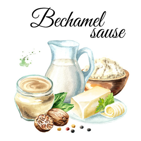 Bechamel sauce ingredients composition. Watercolor hand drawn illustration, isolated on white background