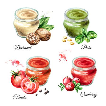 Sauce set 1. Bechamel, pesto, tomato, cranberry. Watercolor hand drawn illustration isolated on white background