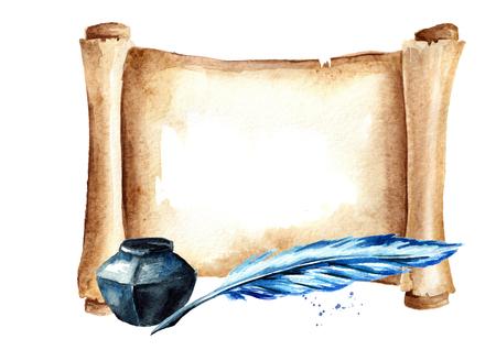 Desplazamiento horizontal de papel viejo con lápiz y tintero. Ilustración de dibujado a mano acuarela aislado sobre fondo blanco