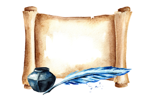 Old paper horizontal scroll with pen and inkwell. Watercolor hand drawn illustration isolated on white background 版權商用圖片 - 112522384