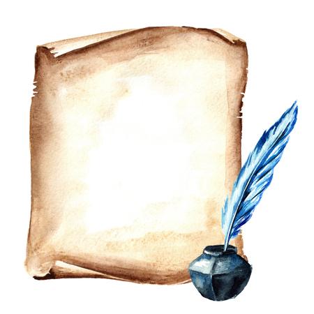Rollo de papel viejo o pergamino con bolígrafo y tintero. Ilustración de dibujado a mano acuarela, aislado sobre fondo blanco