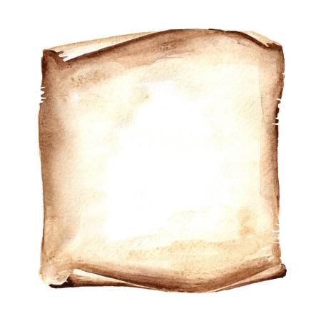 Rollo de papel viejo o pergamino. Ilustración de dibujado a mano acuarela, aislado sobre fondo blanco