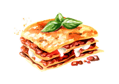 Lasagna. Watercolor hand drawn illustration isolated on white background