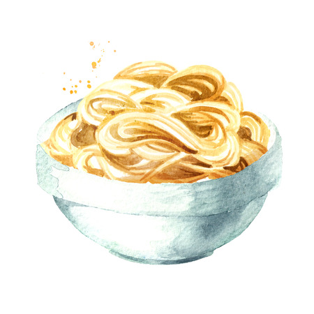 Noodles in bowl. Watercolor hand drawn illustration isolated on white background