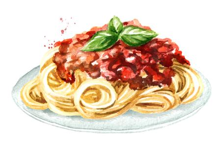 Spaghetti met bolognesesaus. Aquarel hand getekende illustratie geïsoleerd op een witte achtergrond