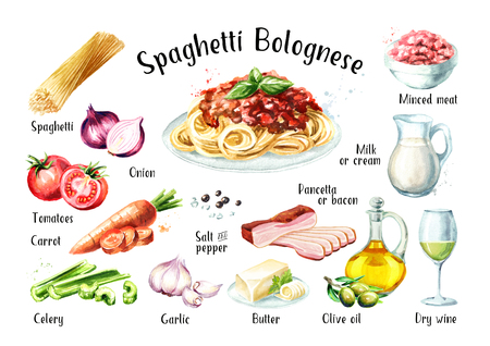 Spaghetti Bolognese recipe ingredients set. Watercolor hand drawn illustration isolated on white background