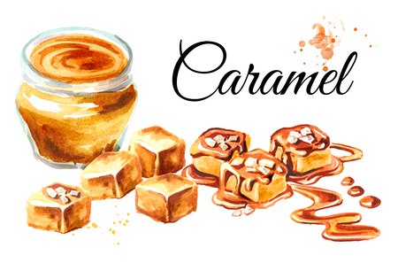 Caramel card. Watercolor hand drawn illustration isolated on white background