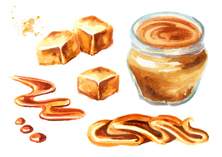 Caramel set. Watercolor hand drawn illustration isolated on white background Imagens
