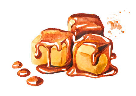 Ð¡aramel candies and caramel sauce. Watercolor hand drawn illustration isolated on white background