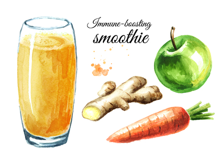 Immune-boosting smoothie with Apple, carrot and ginger set. Watercolor hand drawn illustration isolated on white background