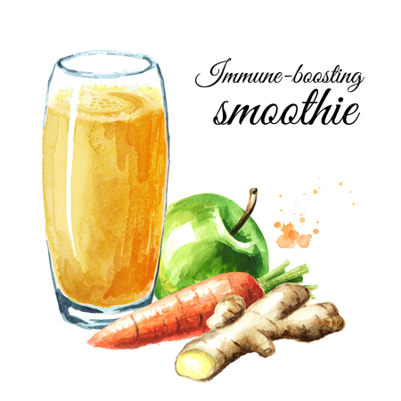 Immune-boosting smoothie with Apple, carrot and ginger. Watercolor hand drawn illustration isolated on white background Stock Photo