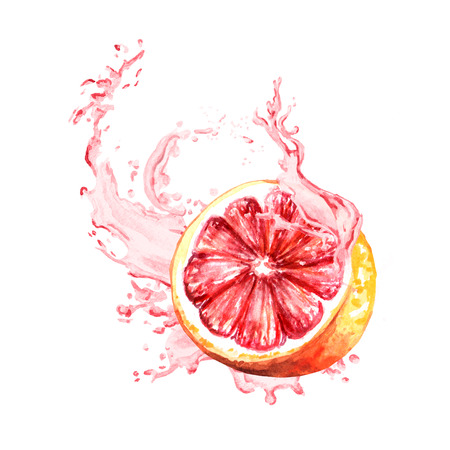 Splash of grapefruit juice. Watercolor hand drawn illustration, isolated on white background Фото со стока