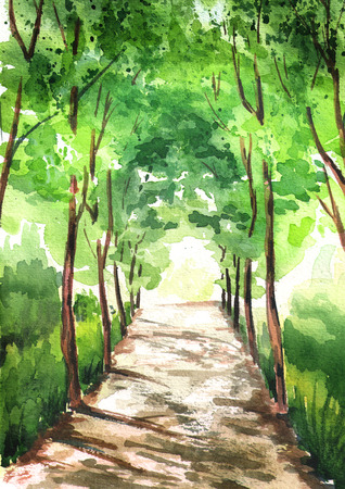 Alley of green trees, illuminated by the sun, with light at the end of the tunnel. Watercolor hand drawn vertical illustration