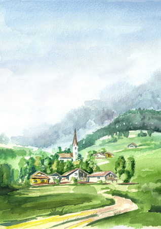 Alpine landscape. Watercolor hand drawn vertical illustration