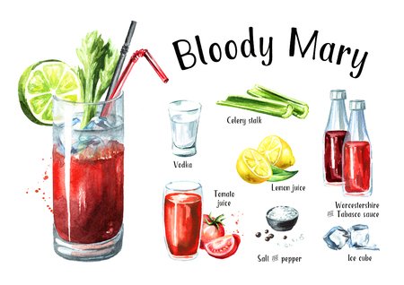 Cocktail with alcohol Bloody Mary ingredients set