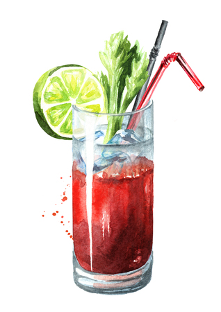 Cocktail with alcohol Bloody Mary with celery and lime. Imagens