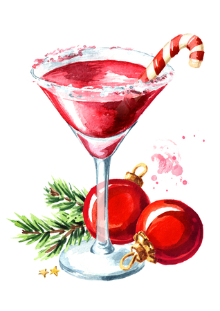 Red christmas martini with lollipop or candy cane and xmas balls with fir branch.