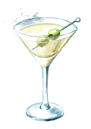 Martini with olives. Watercolor hand drawn Imagens