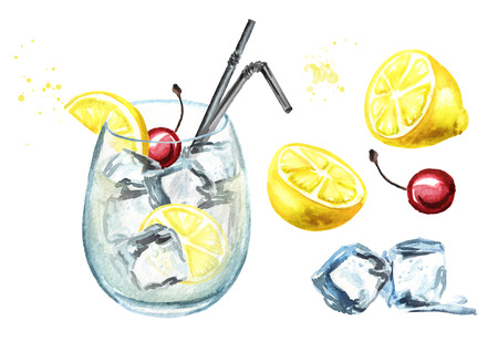 Tom Collins cocktail ingredients with lemon, cherry and ice cubes set. 스톡 콘텐츠