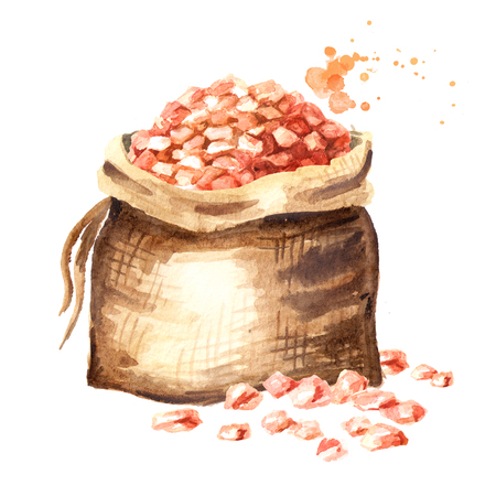 Burlap bag with Himalaya pink salt. Watercolor hand drawn illustration, isolated on white