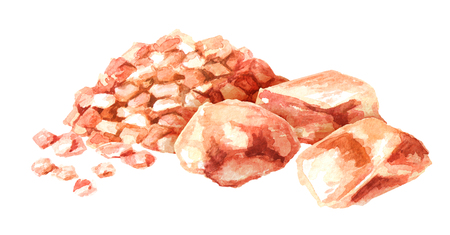 Himalayan  pink salt set. Watercolor hand drawn illustration, isolated on white