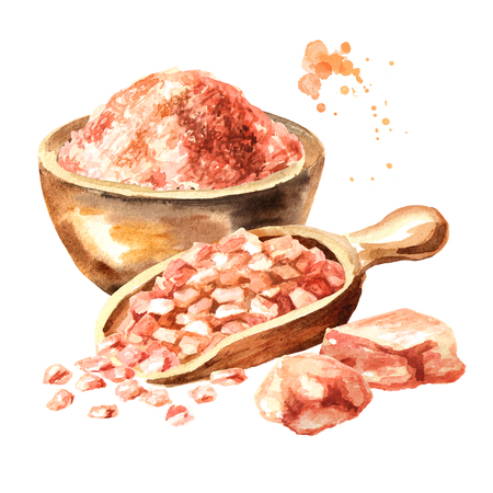 Himalayan pink salt. Watercolor hand drawn illustration  isolated on white