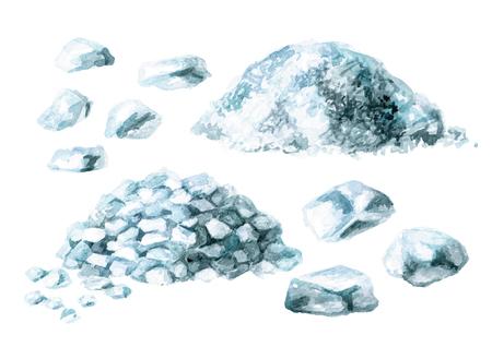 Sea salt set. Watercolor hand drawn illustration, isolated on white Imagens