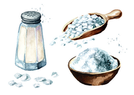 Salt set. Watercolor hand drawn illustration, isolated on white
