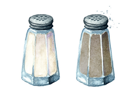 Salt and pepper shaker. Watercolor hand drawn illustration, isolated on white